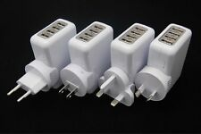 LED 4 USB Port Travel Charger + EU/USA/AU/UK Plug Adapter For Iphone Samsung HTC