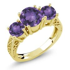 9.10 Ct Round Purple VS Amethyst 18K Yellow Gold Plated Silver 3-Stone Ring