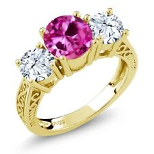 3.16 Ct Round Pink Created Sapphire 18K Yellow Gold Plated Silver 3-Stone Ring