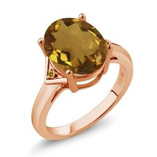 4.02 Ct Oval Champagne Quartz and Yellow Simulated Citrine 18K Rose Gold Ring