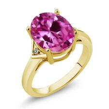 6.01 Ct Oval Pink Created Sapphire White Diamond 18K Yellow Gold Ring