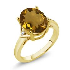 4.02 Ct Oval Whiskey Quartz White Topaz 18K Yellow Gold Plated Silver Ring