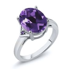 4.01 Ct Oval Purple Amethyst 925 Sterling Silver Ring