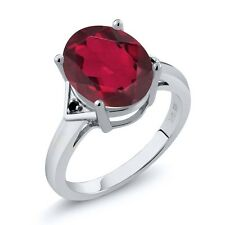 4.01 Ct Oval Ruby Red Mystic Quartz Black Diamond 14K White Gold Ring