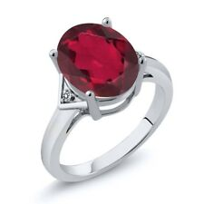4.01 Ct Oval Ruby Red Mystic Quartz White Diamond 18K White Gold Ring