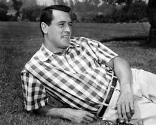 ROCK HUDSON HANDSOME B/W PORTRAIT 1950'S ON LAWN PHOTO OR POSTER