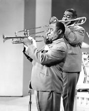 LOUIS ARMSTRONG PLAYING TRUMPET PROFILE PHOTO OR POSTER