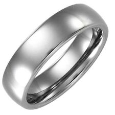 Tungsten Carbide Classic Silver White Polished Domed Band Unisex Wedding Ring
