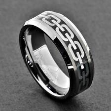 Tungsten 8mm Band Bevel Edge Men's Silver Celtic Chain Wedding Ring