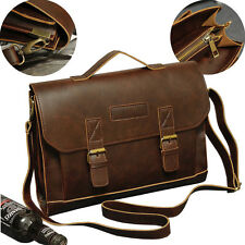 crazy horse cowhide Leather men's messenger business Laptop briefcase bags