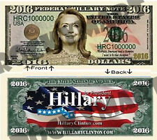 Hillary Clinton For President One Million Dollars Novelty Bill Notes 1 5 25