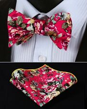 BMF403K Pink Yellow Floral Men Woven Cotton Self Bow Tie Pocket Square Set