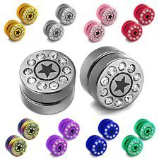 2x magnetic fake plugs taper tunnel earrings stainless steel rhinestone 10mm