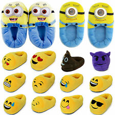 Emoji Minion 3D Plush Stuffed Unisex Pajamas Slippers Winter Home Indoor Shoes