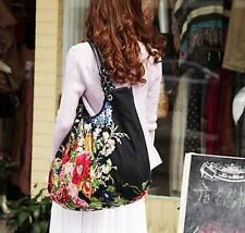 Womens College Fashion Cotton Handbags Ladies Floral Totes Purse Shoulder Bag