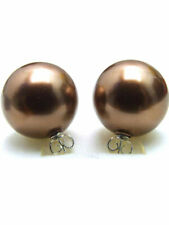 SALE Big 18mm brown Round Shell Pearl Earring & Stering Silver 925 stud! -ear425
