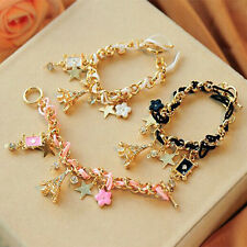 Chic Eiffel Tower Star Flower Leather Crystal Chain Bangle Bracelet Jewelry