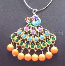 """New 40mm Multicolor Peafowl Pendant & 5mm Pink round Coral 17""""necklace -nec5886"""