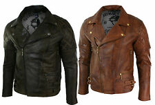 Mens Slim Fit Cross Zip Retro Vintage Brown Biker Punk Rock Real Leather Jacket