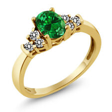 0.61 Ct Oval Green Simulated Emerald White Diamond 18K Yellow Gold Ring