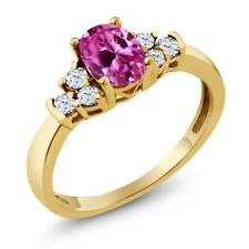 0.82 Ct Pink Created Sapphire White Topaz 18K Yellow Gold Plated Silver Ring