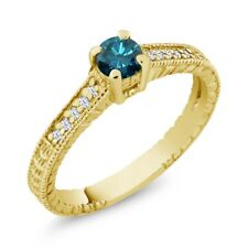 0.39 Ct Blue Diamond White Created Sapphire 18K Yellow Gold Engagement Ring