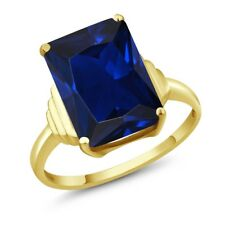 1Octagon Blue Simulated Sapphire 18K Yellow Gold Ring