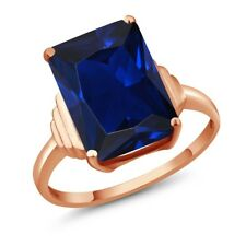 1Octagon Blue Simulated Sapphire 18K Rose Gold Plated Silver Ring