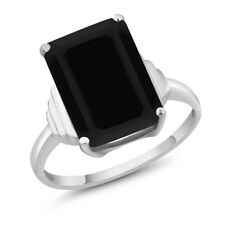5.00 Ct Emerald Cut 14x10mm Natural Black Onyx 925 Sterling Silver Ring