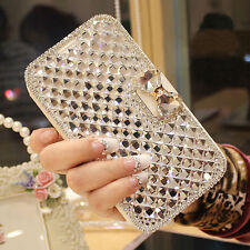 Fashion Bling Crystal Rhinestone Leather Wallet Cases Cover For iPhone/ Samsung