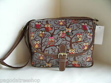 New Over Body Messenger Bag Owl Print Oilcloth in Black Blue Grey Red or Beige