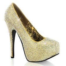 Bordello TEEZE-06R Shoes Gold Satin-Iridescent Rhinestones Platforms High Heel