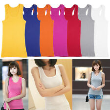 Women Sports Fitness Sleeveless Camisole Cotton Vest Solid Color Tank Top QT