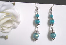 Tibetan Silver Turquoise Miracle Bead earrings - (pierced or clip)  party prom