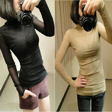 1Pcs Womens Fashion Slim Sexy Sheer Back Turtle Neck Bottoming Shirt Tops Blouse