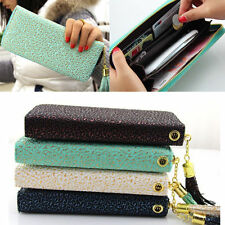 New Women Fashion PU Leather Wallet Zip Around Case Purse Lady Long Handbag Bags