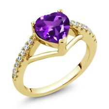 1.06 Ct Heart Shape Purple Amethyst 18K Yellow Gold Plated Silver Ring