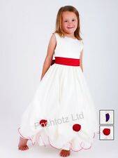 Girls Cream & Red Roses Occasion Dress Wedding Party Christening (2-3 - 9-10yrs)