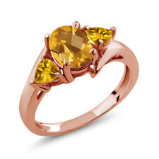 1.65 Ct Oval Checkerboard Yellow Citrine 18K Rose Gold Ring