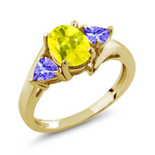 1.72 Ct Oval Canary Mystic Topaz Blue Tanzanite 14K Yellow Gold Ring