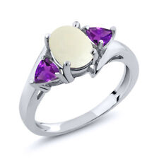 1.47 Ct Oval Cabochon White Opal Purple Amethyst 18K White Gold Ring