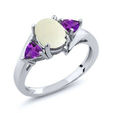 1.47 Ct Oval Cabochon White Simulated Opal Purple Amethyst 18K White Gold Ring