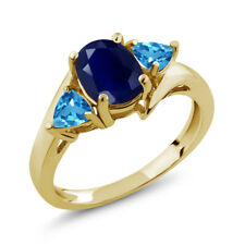 2.35 Ct Oval Blue Sapphire Swiss Blue Topaz 18K Yellow Gold Plated Silver Ring
