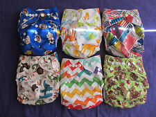 Lot of 6 New Boys Tagless ALVA Cloth Pocket Diapers With Double Gussets