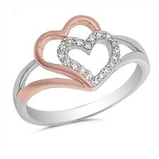 Sterling Silver 925 PRETTY DOUBLE HEART DESIGN CLEAR CZ PROMISE RING SIZES 4-10
