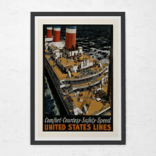 NAUTICAL TRAVEL POSTER - United States Lines Travel Poster - Vintage Boat Poster