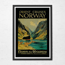 NORWAY TRAVEL POSTER - Vintage Nautical Travel Poster - Vintage Poster, Cruise S