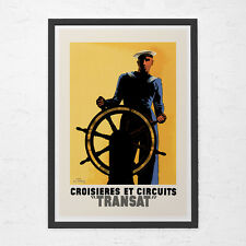 NAUTICAL TRAVEL POSTER - Art Deco Travel Poster - Vintage Navy Poster, Cruise Sh