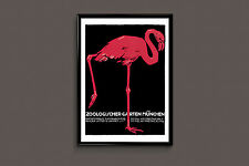 MUNICH ZOO - Germany Travel Poster, Art Deco Poster, Art Deco Print, Pink Flamin