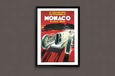 Monaco Travel Poster - France Travel Art - 1930 Monaco Grand Prix Poster  Frame-